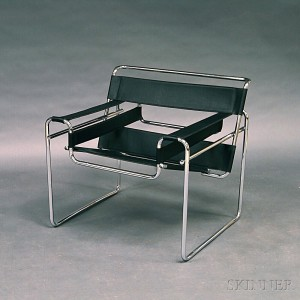 Wassily Style Tubular Steel And Black Leather Lounge Chair