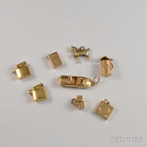 Eight 14kt Gold Figural Charms