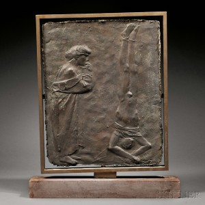 Giacomo Manzù (Italian, 1908-1991)      Two Works:  Untitled Bronze Bas-relief and La Guerra, Variante IV   (lithograph)