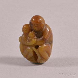 Agate Carving of Two Monkeys
