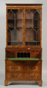 Sold for: $24,675 - Regency Ivory-mounted and Fruitwood Inlaid Padoukwood Secretaire/Bookcase