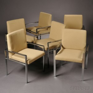 Six Steel Armchairs In The Manner Of Milo Baughman