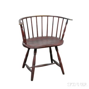 Good Red Painted Sack Back Windsor Chair