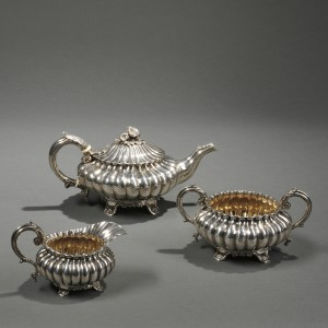 Three-piece George IV Sterling Silver Tea Service