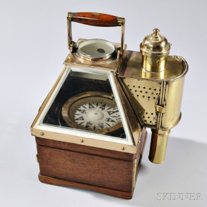 """Brass- and Wood-cased Lighted """"Boat Compass,"""""""