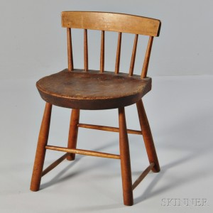 Shaker Brown-stained Pine and Maple Low-back Dining Chair