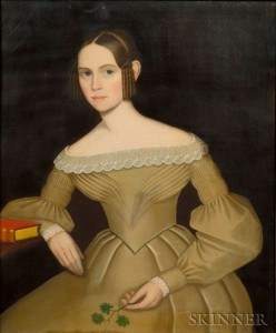 Sold for: $314,000 - Attributed to Ammi Phillips (Kent, Litchfield County, Connecticut area, 1788-1865)    Portrait of Augusta Maria Foster, c. 1836.
