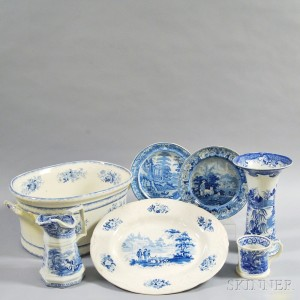 Seven Staffordshire Blue Transfer-decorated Items