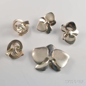 Two Pairs of Sterling Silver Earclips and Brooch, Angela Cummings