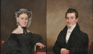 Attributed to James Sullivan Lincoln (Rhode Island, 1811-1888) Pair of Portraits of Robert Orrell and His Wife Ann Walsh Dickens of Pro