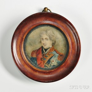 Miniature Watercolor Portrait of Admiral Lord Nelson