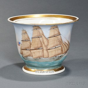 American Ship Island Queen   Painted Porcelain Presentation Cup