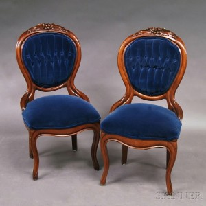 Merveilleux Pair Of Victorian Rococo Revival Side Chairs