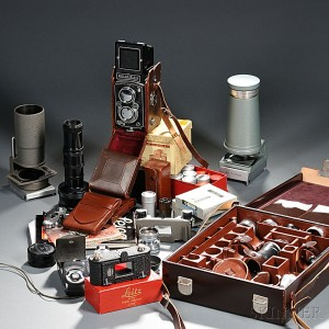 Rolleiflex Camera and Collection of Leica and Rolleiflex Accessories