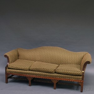 Chinese Chippendale Style Carved Mahogany Camel Back Sofa