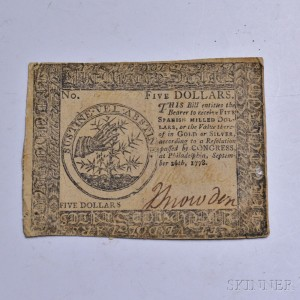 Continental Currency Five Dollars