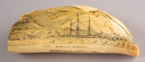 Sold for: $70,500 - Engraved Whale's Tooth