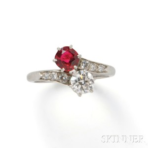 Platinum, Red Spinel, and Diamond Bypass Ring