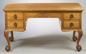 Great Paine Furniture Co. Georgian Style Carved Mahogany Flat Top Desk.