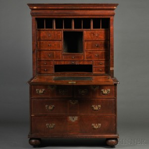 Sold for: $270,000 - William & Mary Walnut and Walnut Veneer Escritoire or Fall-front Desk