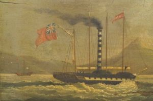 Sold for: $127,000 - Sunqua (Chinese, ac. 1830-1870)    Historically  Important Depiction of the Paddle Steamer Forbes