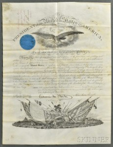 Lincoln, Abraham (1809-1865) Signed Military Commission, 6 February 1862.