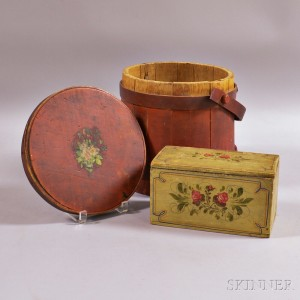 Paint-decorated Firkin and Box