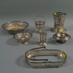 Seven Pieces of Reticulated Sterling Silver Tableware