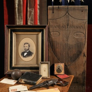 Sold for: $13,200 - Temporary Grave Marker, Pistol, Bible, Documents of Corporal Randall Mann