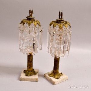 Pair of Sandwich Glass and Brass Whale Oil Lamps