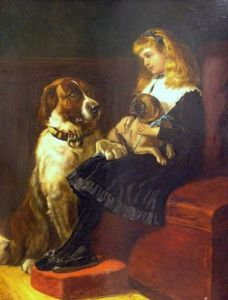 British School, 19th Century    Portrait of a Seated Girl Holding a Pug with a Large Spaniel Beside Her