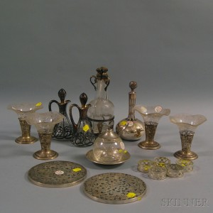 Group of Silver-mounted and Silver Overlay Tableware