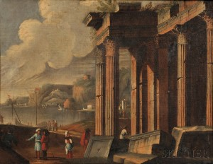 Manner of Claude-Joseph Vernet (French, 1714-1789)      Roman Ruins at the Shore