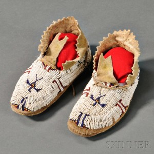 Cheyenne Beaded Hide Child's Moccasins