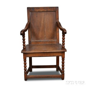 Perfect Turned And Carved Oak Wainscot Armchair