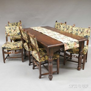 Jacobean Style Oak Table And Seven Chairs