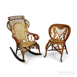 Whitney Reed Wicker Child's Chair and a Gold-painted Fancy Wicker Rocker.     Estimate $40-60