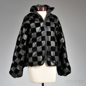 Lady's Giorgio Armani Quilted Black Lambskin Leather Jacket