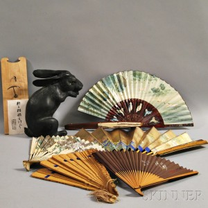 Cast Metal Rabbit and Six Fans and Fan Holder