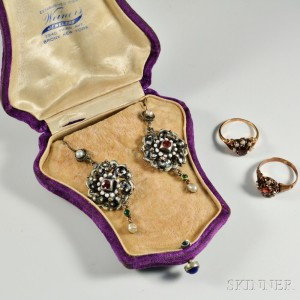 Austrian Renaissance Revival Earpendants and Two 14kt Gold and Garnet Rings