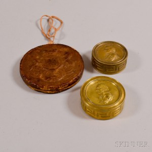 Two Admiral Lord Nelson Commemorative Brass Boxes and a Wax Seal