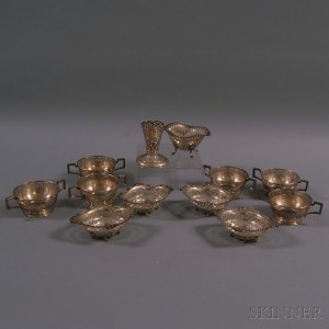 Group of Small Pierced Sterling Silver Tableware