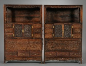 Sold for: $24,885 - Pair of Hongmu Display Cupboards