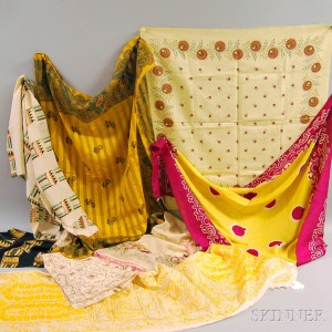 Eight Assorted Printed and Embroidered Silk and Cotton Textiles