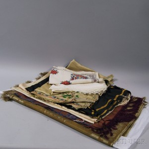 Seven Printed and Embroidered Silk and Cotton Textiles