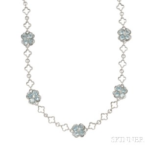 18kt White Gold, Blue Topaz, and Diamond Longchain