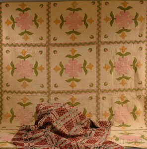 Pieced Cotton Floral-medallion Quilt and a Tricolor Overshot Coverlet