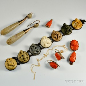 Group of Lava and Coral Jewelry