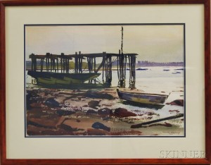Ted Kautzky (American, 1896-1953)      Old Pier at Low Tide.