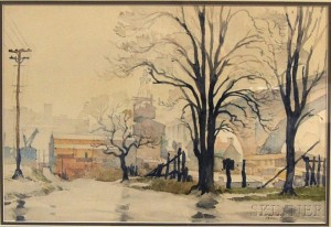 Ted Kautzky (American, 1896-1953)      Urban View, Probably New York, Gray Day.